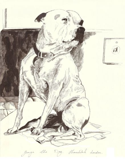 John Dolan and George The Dog Drawing