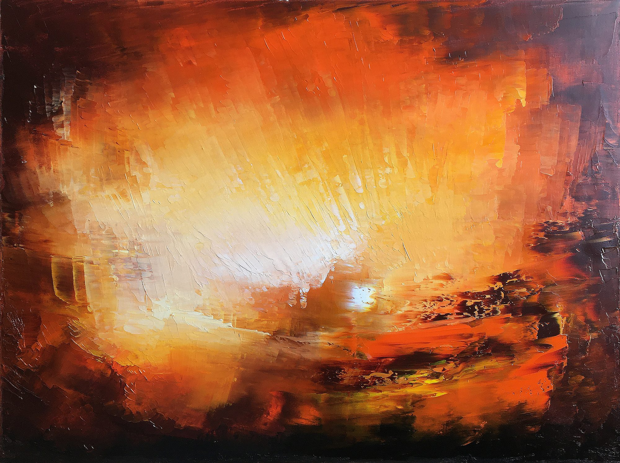 Vulcania - oil on canvas abstract landscape painting by Paul Kingsley Squire